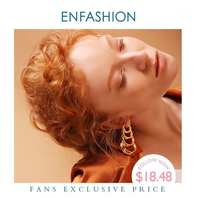 ENFASHION Multilayer Circle Links Drop Earrings For Women Gold Color Long Tassel Dangle Earings Fashion Jewelry Pendientes E10731