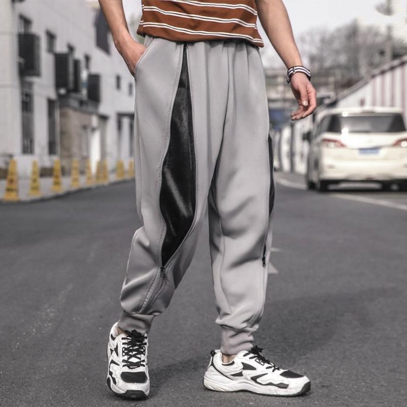 Совершенно новые мужчины плюс размер на молнии дизайн на молнии лоскутное повседневные брюки мужской хип-хоп мода свободные спортивные брюки мужская уличная одежда1