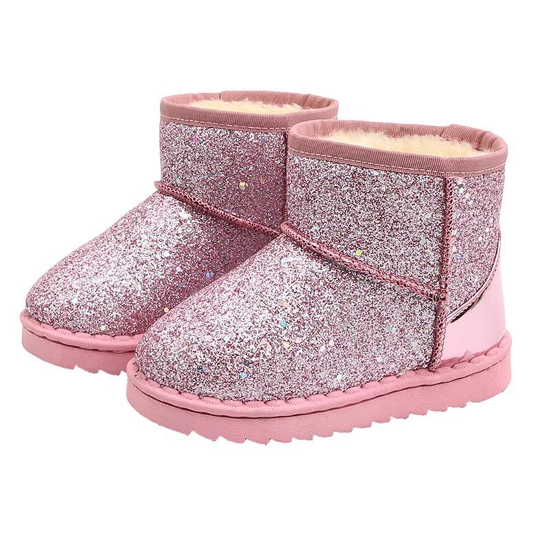 COZULMA Enfants Bébé enfant en bas âge Chaussures enfant hiver bling Paillettes Bottes de neige en peluche Sole Garçons Filles plus épaisses Bottes de neige Chaussures Taille 25-36X1024