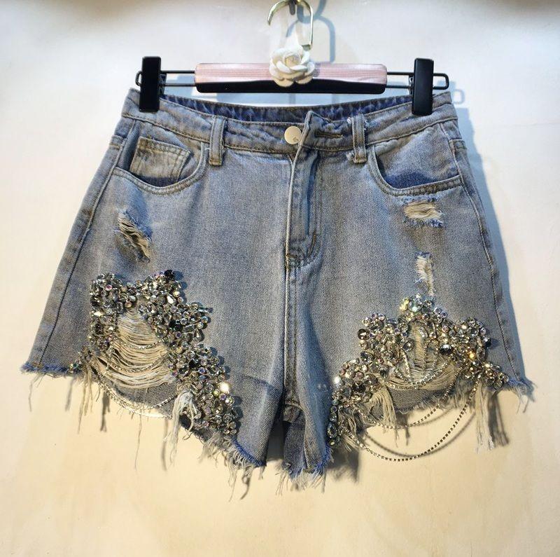 Shorts Women Shorts Women Real High Waist Sale Cotton Casual Solid 2020 Summer New Heavy Work Beaded Diamond Chain Hole Female Q0131