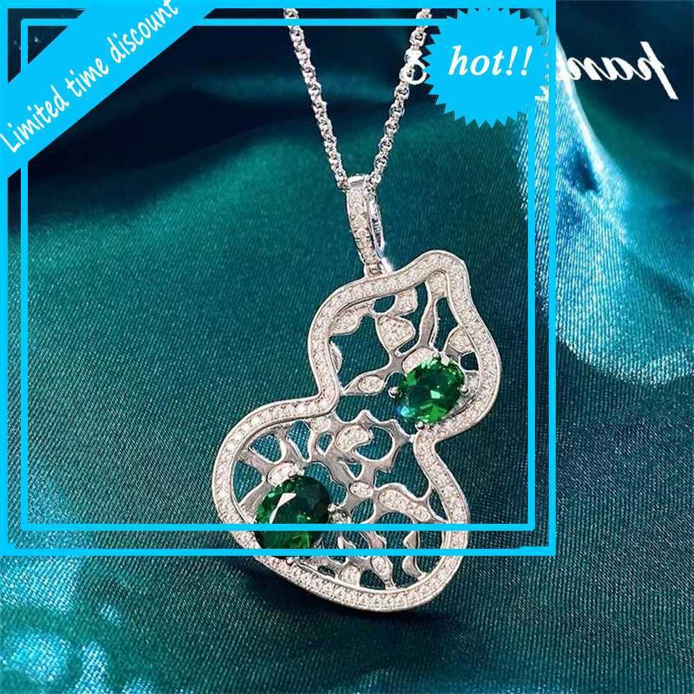 Pansysen Luxe Holle Kalebas Design Solid 925 Sterling Silver Emerald Made Moissanite gemstone Hanger Chains for Women