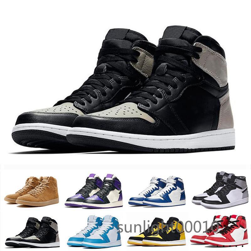 Tênis de basquete Jumpman 1 Bloodline Homens Designer ouro Sneakers Destemido Obsidian Patent UNC quente Pine Verde Black 1s toe preto top YUE5