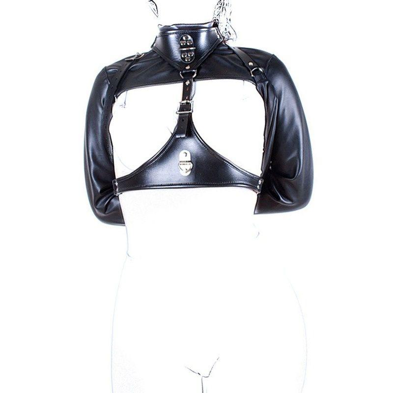 BDSM Bondage Bondage PU cablaggio in pelle cassa di ritenzione del petto Giacca dritto Giocattoli del sesso Fetish erotico