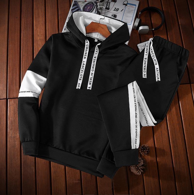 Oloey 2020 новый мужской свитер спортивный костюм Осень с длинными рукавами с капюшоном куртки средней школы Студенты Tracksuit Мужчины набор одежды