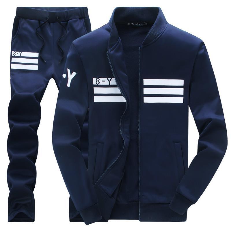Otoño Nuevo Sweatshirt Sweats Slim Fit Moda Sportswear Cardigan suéter Desgaste de los hombres 2 piezas Sets Sport Traje Jacket + Pantalón