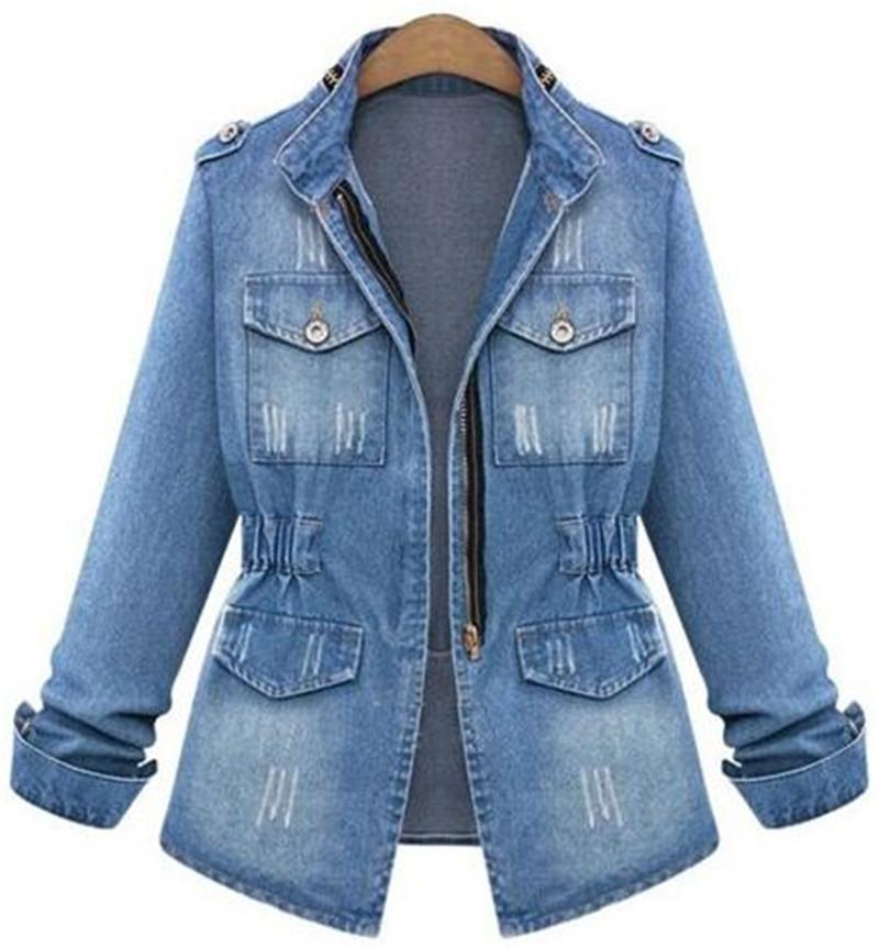 Frühlingsherbst Neue Noble Sterne Lady Streetwear Denim Jacken Blau Patchwork Taschen Knöpfe Hohe Qualität Baumwolle Rollkragen