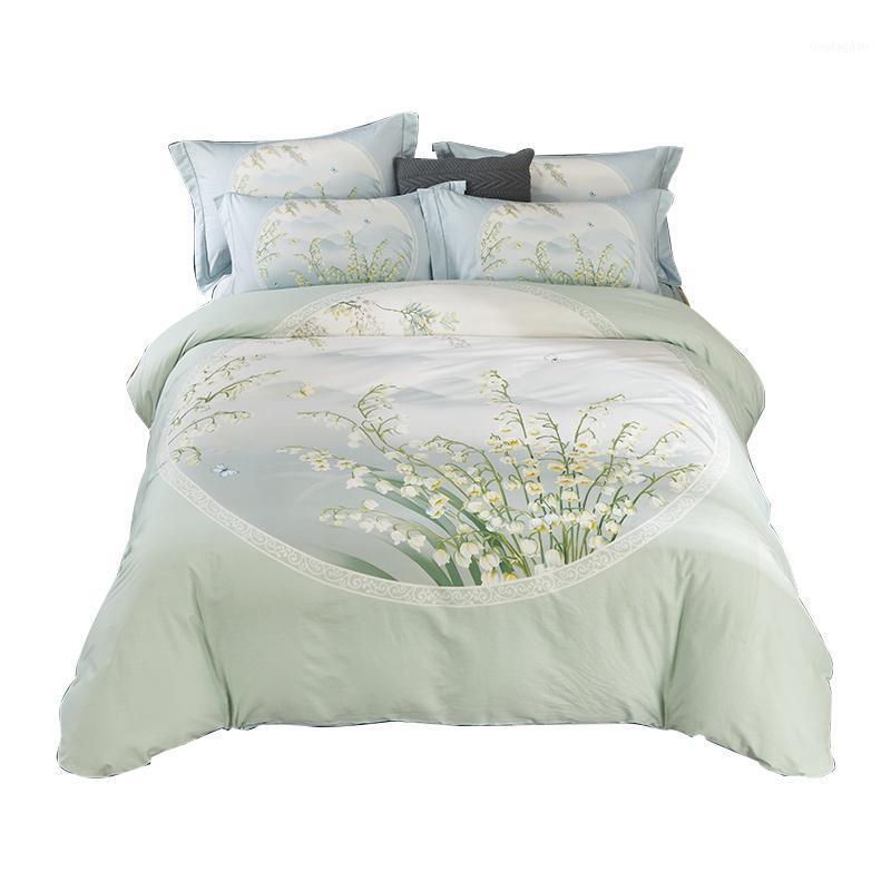 Bettwäsche-Sets Chinesischen Stil Floral Set Königin King Größe 100% Baumwolle Print Duvet Cover Bettwäsche Kissenbezug Oriental Home Textiles1