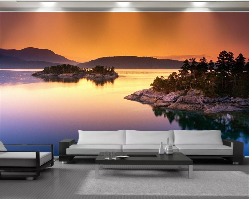 Романтический пейзаж 3d обои Mural Классический 3d обои Закат пейзаж Пользовательские 3D фото обои Home Decor
