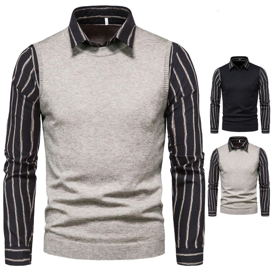 Maglioni da uomo in primavera e autunno camicia a righe a soffietto a due pezzi maglione a due pezzi business casual top a maniche lunghe slim pullover maschio