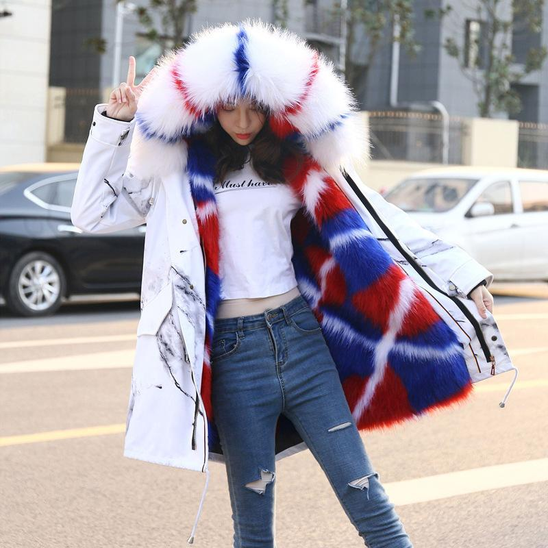 Veste Parka Femmes Moyenne longue Fox Fox Liner Raccoon Collier de chien comme fourrure Manteau de coton en laine d'hiver d'hiver 201029
