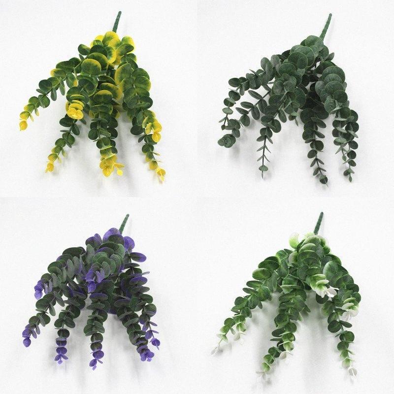 DIY handgemachter bunter Blattpflanze Artificial Blumenstrauß für Home Hotel-Partei-Dekoration Eukalyptusblätter Orchideebetriebe GAIA #