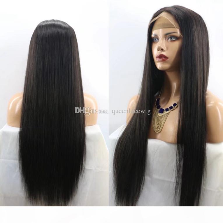 الرباط الجبهة الباروكات الاصطناعية طويل أسود طبيعي مستقيم الشعر مقاومة للحرارة افريقى الرباط الباروكة رخيصة الكامل للمرأة السوداء ذات جودة عالية