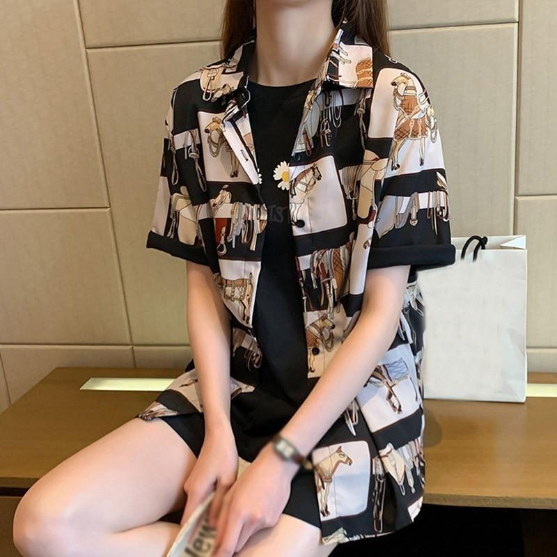 Женщины с коротким рукавом Блузки Топы Harajuku Женщины печати Летняя блузка ретро рубашки