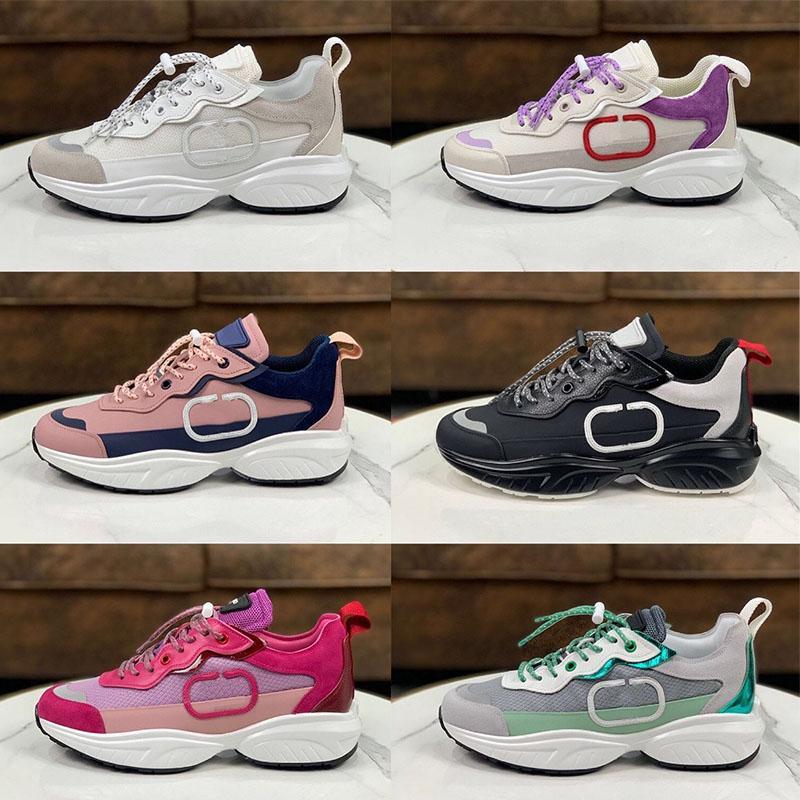 Homens de luxo VLTN Malha Tecido Sapatos Lace-Up Liso Sneaker Designer Sneakers Mulheres Branco Calfskin Genuíno Camurça De Couro Camurça Treinadores Tamanho 35-45