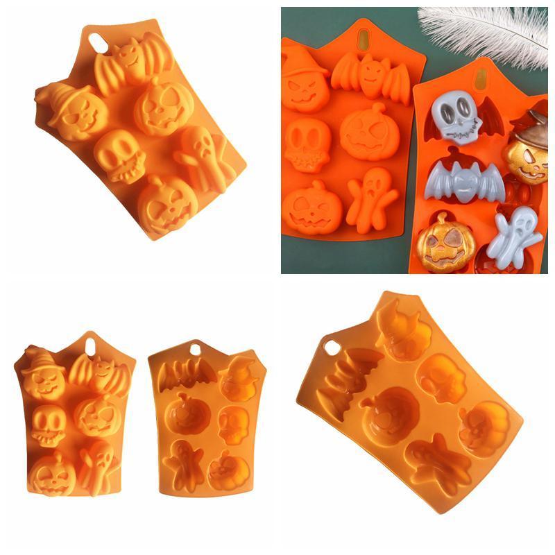 실리콘 오렌지 초콜릿 곰팡이 할로윈 DIY 퐁당 사탕 금형 두개골 호박 박쥐 실리콘 쿠키 초콜릿 베이킹 금형 EWD2528