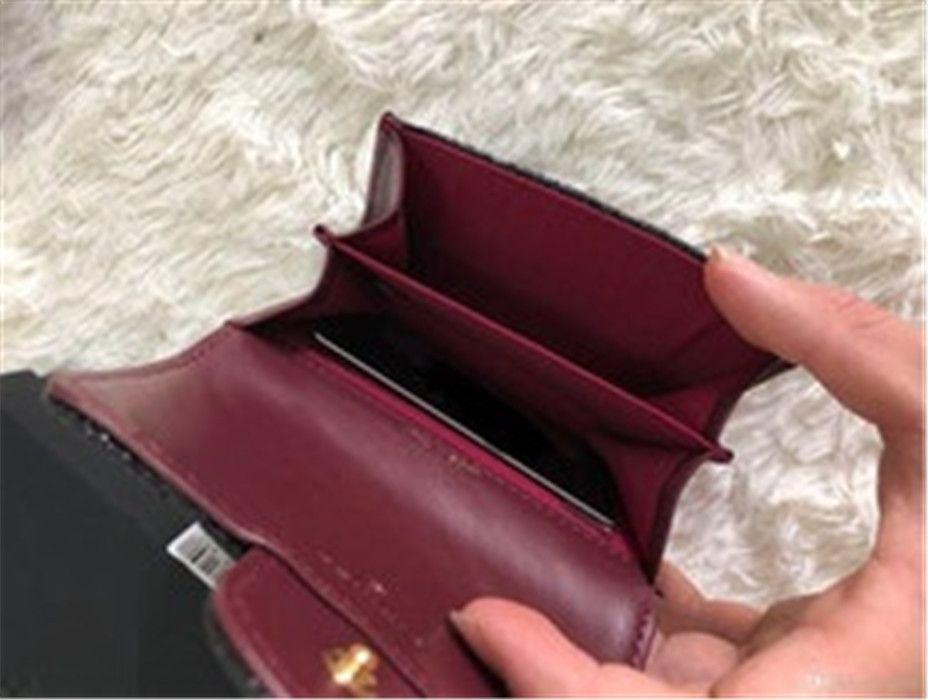Titulares de cartão bolso nova moda feminina de couro genuíno lambskin acolchoado flap mini carteiras fêmea bolsas titular cartão bolsa de moeda wiht caixa