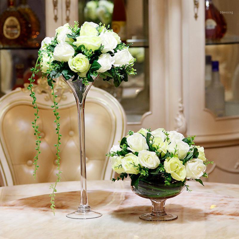 Creativity Glass Vase Leader di Wedding Road Leader Transparent Tall Vaso Tableop Contenitori in vetro Terrario Decorazione creativa J1