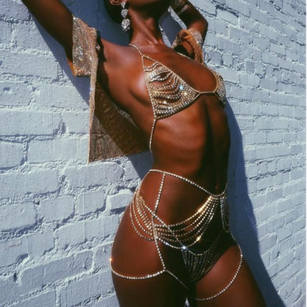 Hot Girl Sexy Lingerie Crystal Thong Mutandine Body Catena Bra Harness Body Gioielli Multilayer Rhinestone Della Catena Pancia Dono