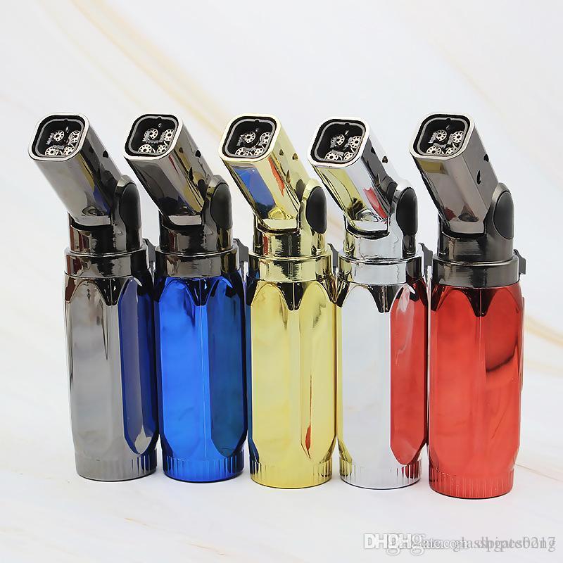 Cigarrillos 1pcs metal Fourflod encendedor de gas butano Jet 4 antorcha de la llama a prueba de viento metal de cocina más ligeros Herramientas Mejor Bong envío
