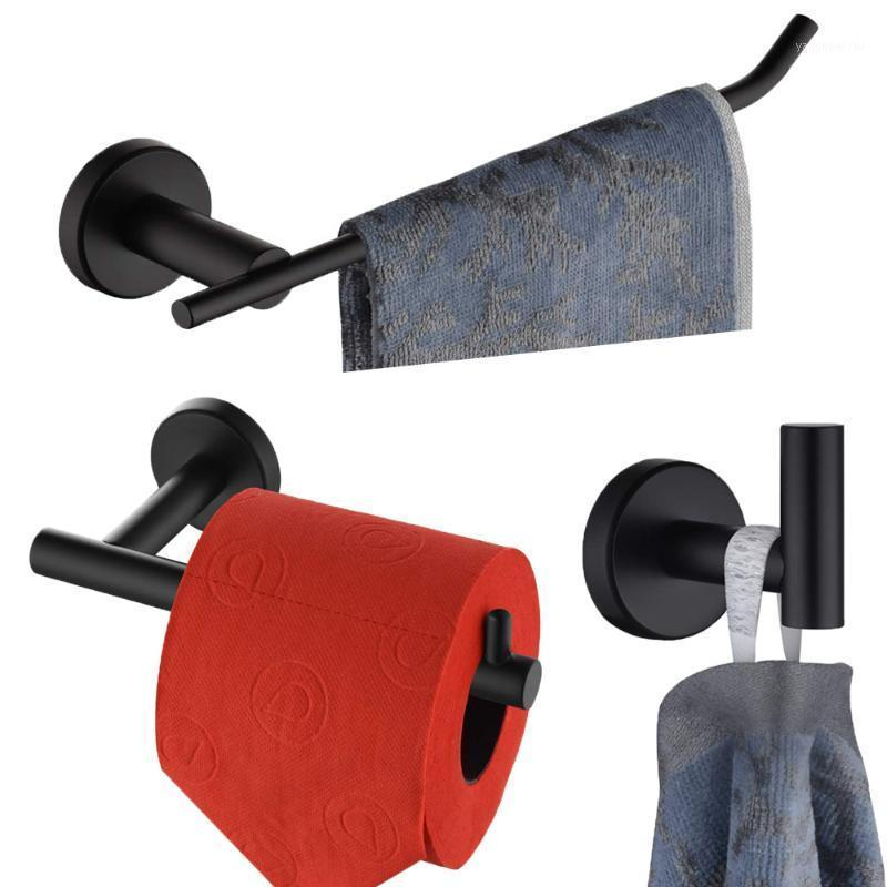 Набор ванных комнат для ванной комнаты для ванной комнаты, черное полотенец рельсовый бар, полотенце вешалка, держатель бумаги, держатель ткани, полотенце звон