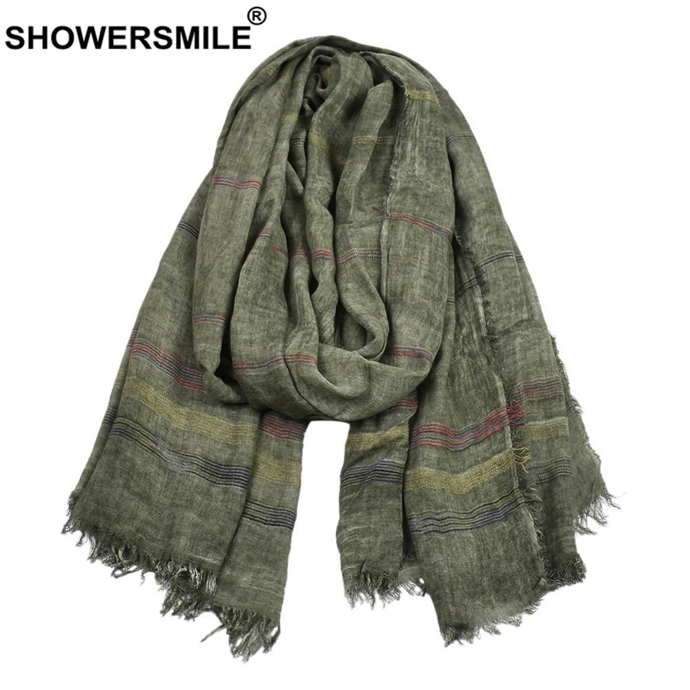 SHOWERSMILE Green Cotton Linen Men Scarves Autumn Winter Winter Accessories for Men Warm Long Fashion Brand Men Scarf Bufanda 201019