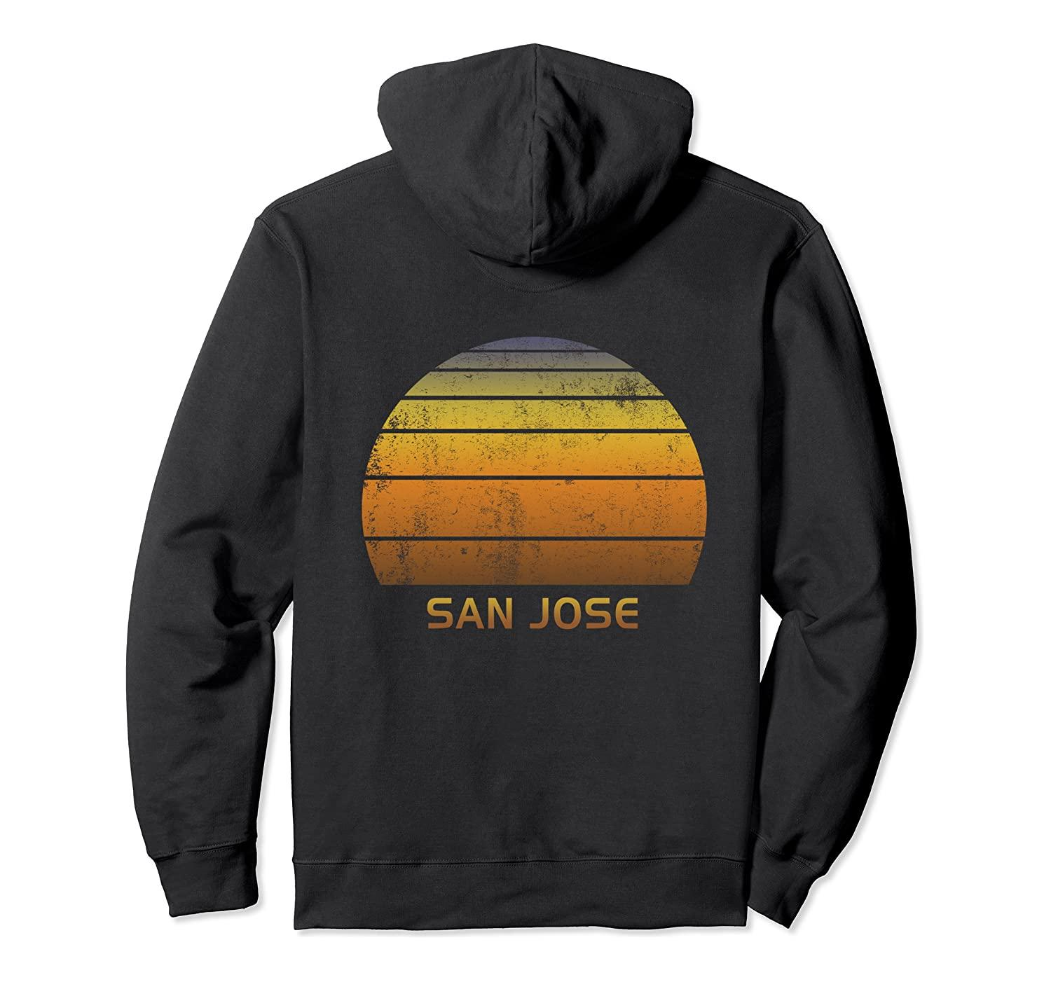 San José en Californie Vintage Sunset Sweat à capuche unisexe Taille S-5XL avec Couleur Noir / Gris / Marine / Bleu Royal / Dark Heather