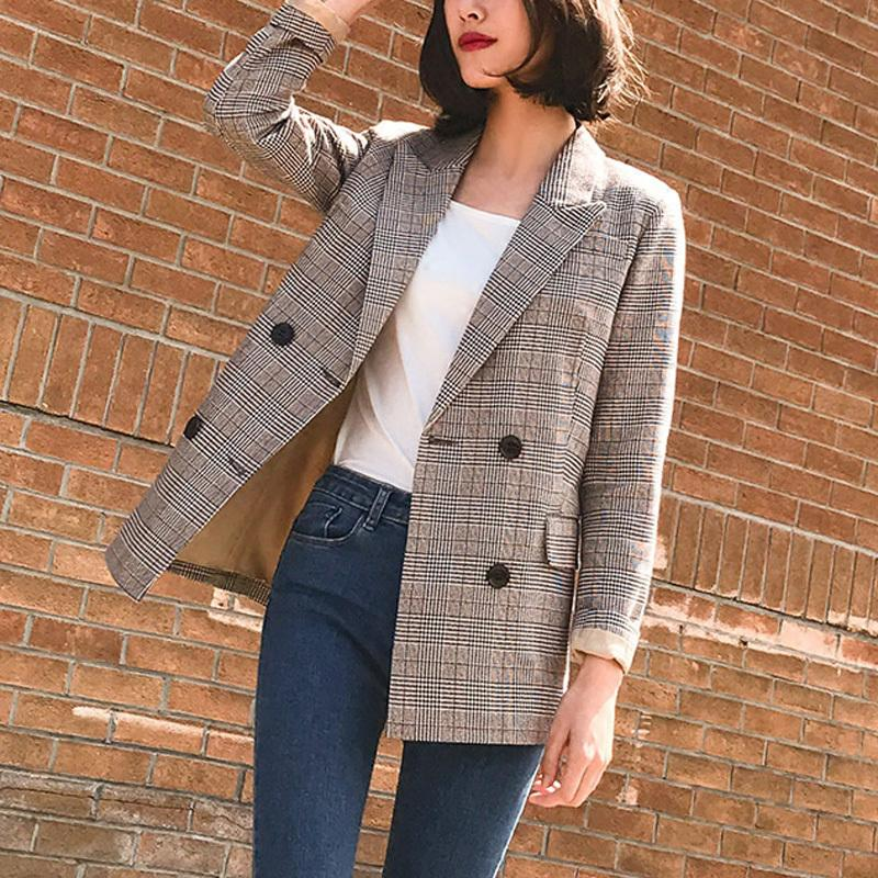 Vintage Notched Bouble Breasted Plaid Women Blazer Thicken Autumn Winter Jackets Female Retro Suits Coat Work high quality
