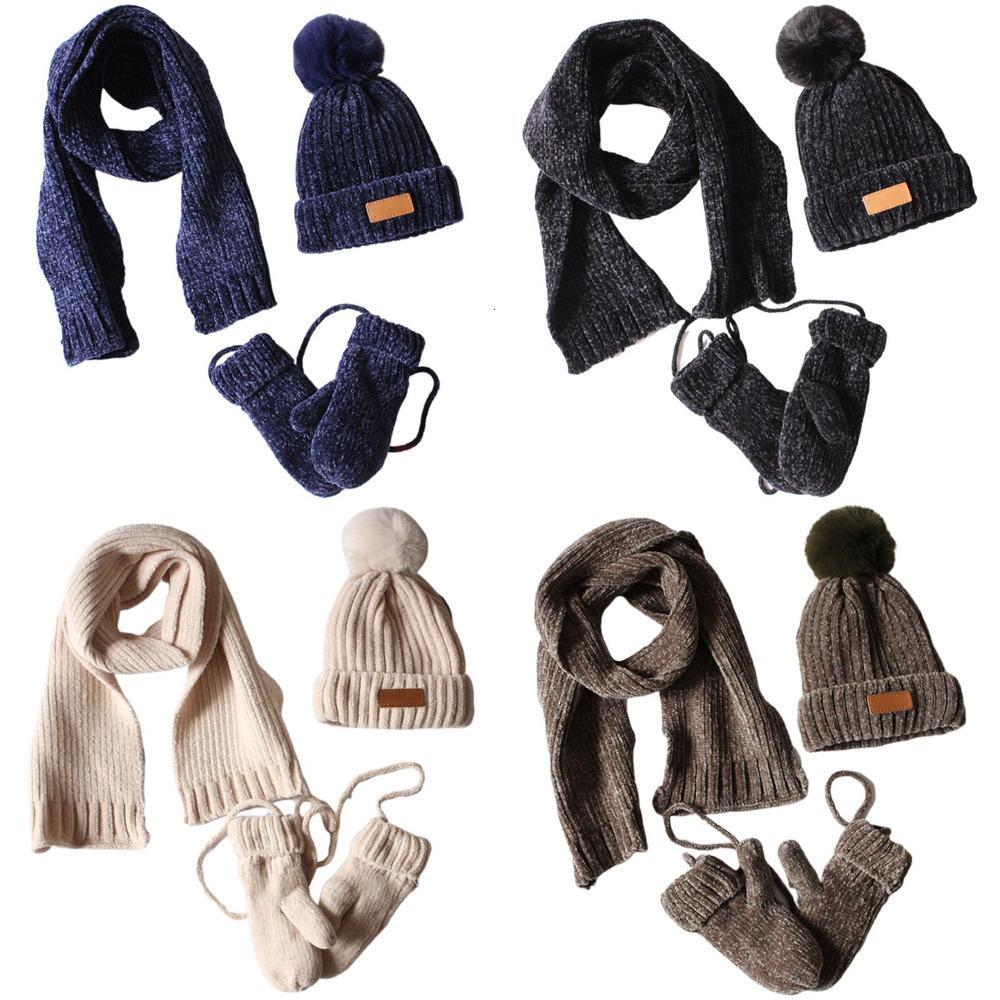 3 in 1 Toddler Kids Winter Ribbed Knit Warm Pompom Beanie Hat Scarf Gloves Set ISU4
