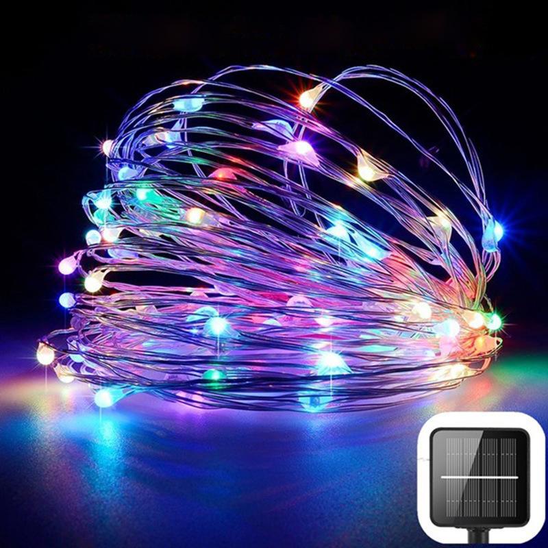태양 정원 조명 문자열 100 LED 10m 야외 크리스마스 장식 스트립 조명 구리 와이어 지상 플러그 요정 조명 뜨거운 판매 13 9LS G2