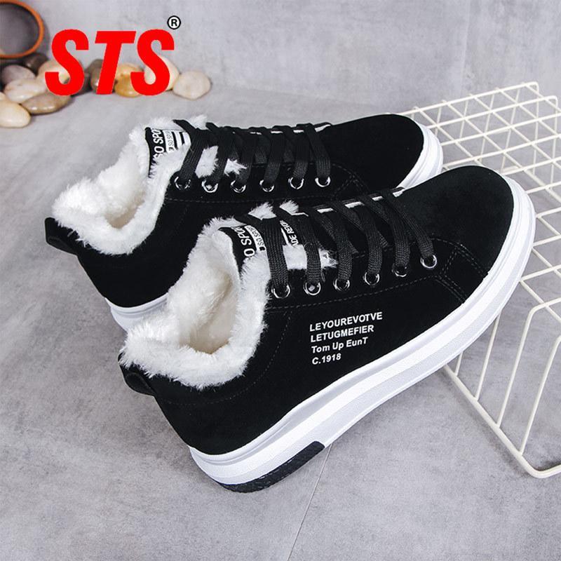 STS mujeres zapatos de invierno Mujeres Botas De felpa caliente señora Shoes Casual Lace Up Moda zapatilla de deporte Zapatillas Mujer Plataforma nieve Botas 201105