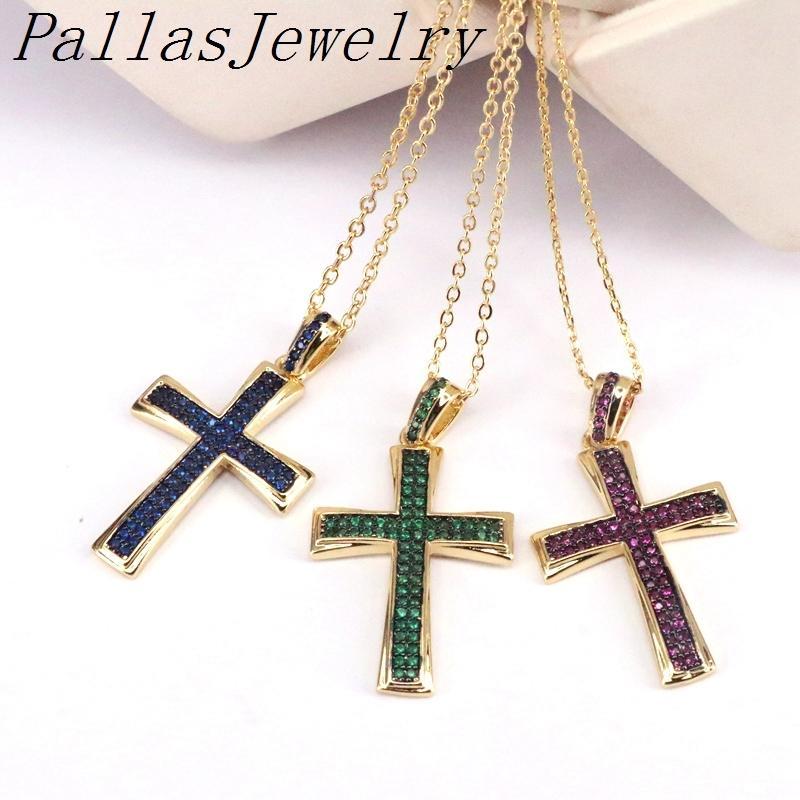 10 pcs, cruza em forma de zircônia jóias pingente cz micro pavimentar cor ouro moda jóias j1218