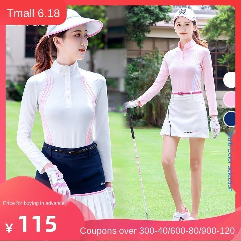 secagem rápida primavera e no verão de golfe vestido das mulheres de manga comprida bola sol prova roupas T-shirt anti-luz calções saia set