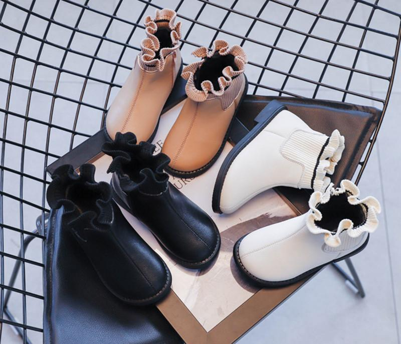 Fashion hot new high quality autumn and winter plus velvet stitching lace sweet princess shoes Martin boots