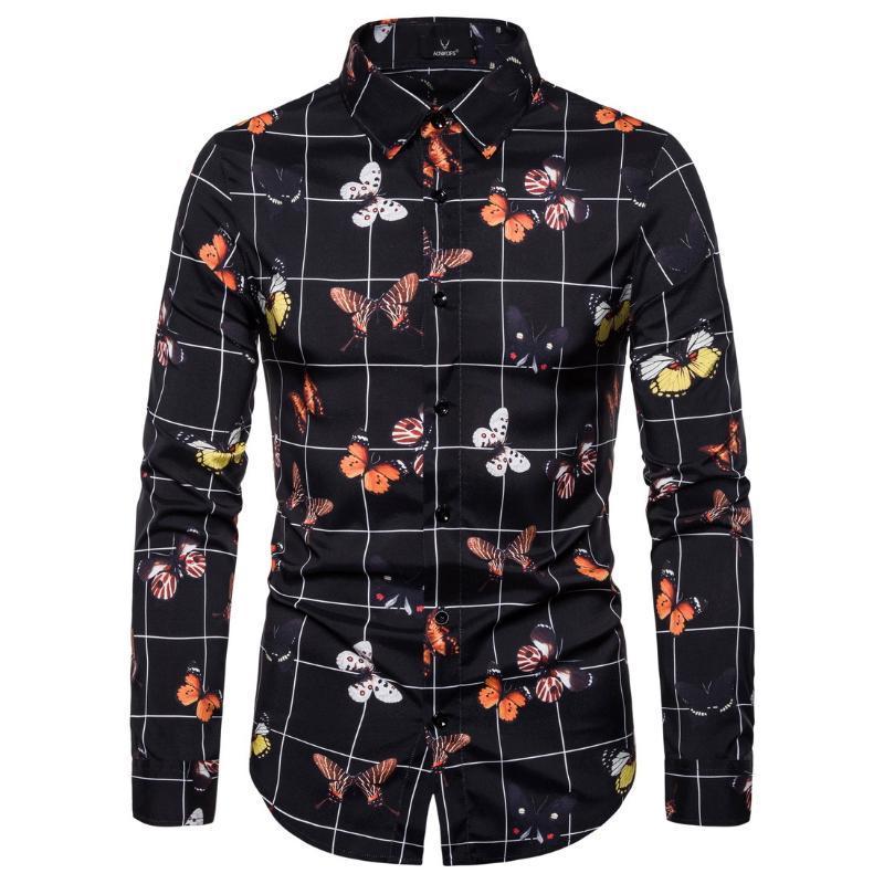 Camisa de primavera masculina e outono Características impressas Casual camisa de mangas compridas novas mangas compridas casuais homens slim