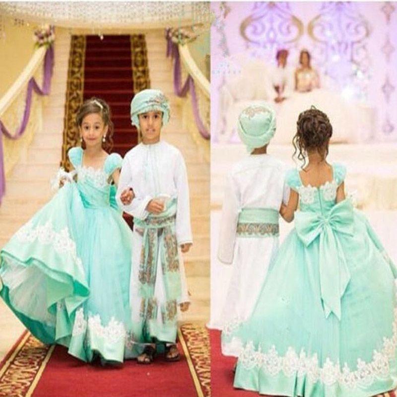 Partido formal boda verde de chicas vestidos de flores minit Vestidos con aplicación de lazo Retrato de escote de la princesa del niño