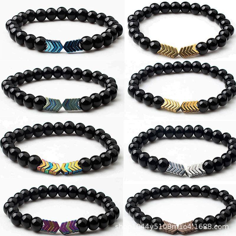Essential noir Bracelets de pierre Diffuseur d'huiles de guérison Équilibre Yoga Aimant Flèche Bracelet à breloques