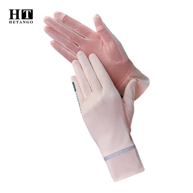 Летний новый солнцезащитный крем перчатки лед шелк анти-УФ противоскольжение дышащей ткани сетки вождения сенсорного экрана сплошного цвета тонкой женщина перчатки 1012