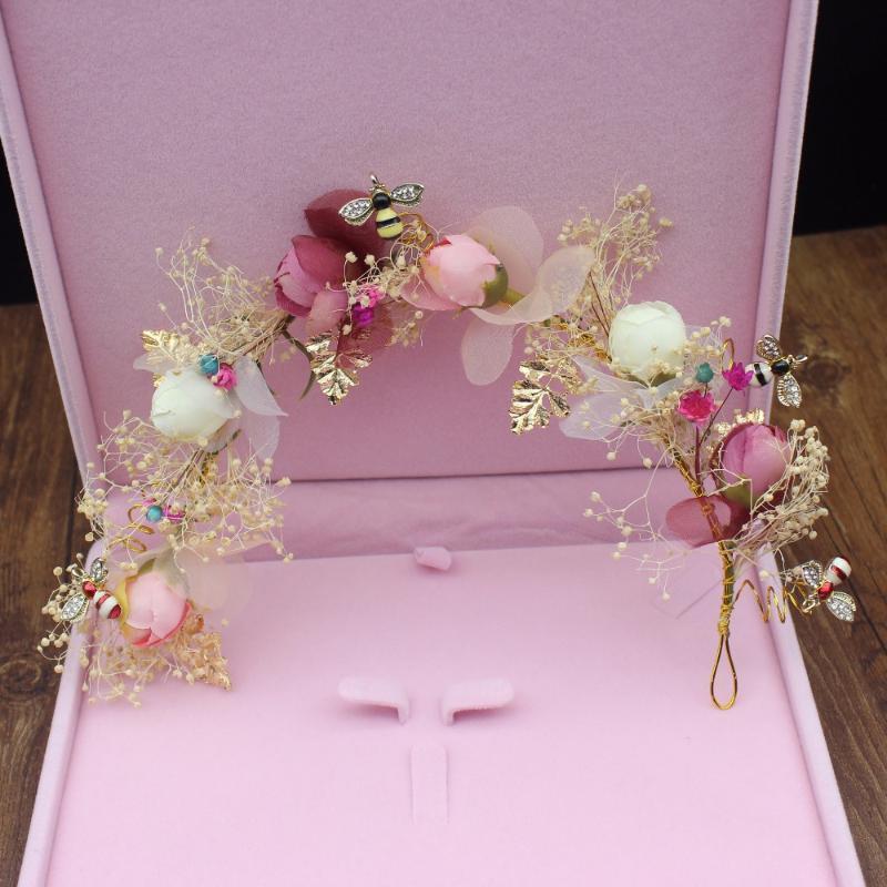 Pinzas para el cabello Barrettes Hecho a mano Volando Vid Vine Nupcial Tiara Headbands Novia Corona Mujer Chirlet Adornos Joyas de boda Accesorios