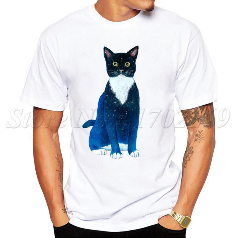 Été Mode Starry Animal Design manches courtes Hipster Orca / Cat / Penguin Galaxy T-shirts imprimés Tops Sport Sweat à capuche à capuche T-shirt