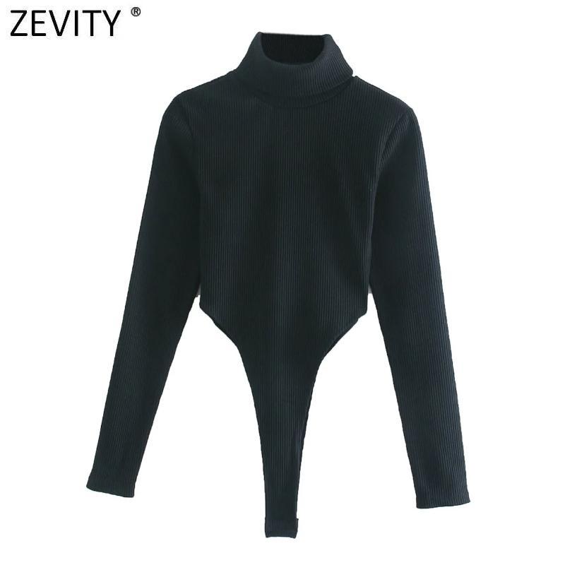 Zevity Nouveaux Femmes Femmes Mode Collier Collier Sexy Slim BodySuits à manches longues Haute Stree Streey Noir Siamois Chic Rompers S492 Q1219