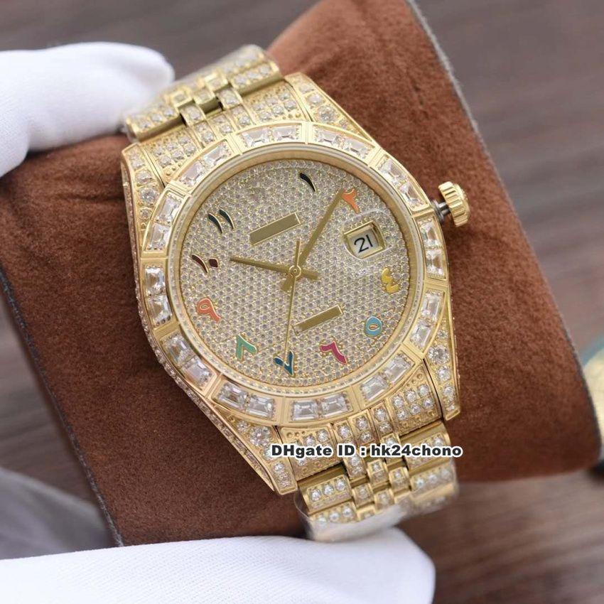 2020 Lujo 41mm 126300 Full Diamond 18k Gold Cal.3255 Autoamtic Mens Watch Diamonds Skittles Arabic Dial Diamond Bracelet Gents Watches