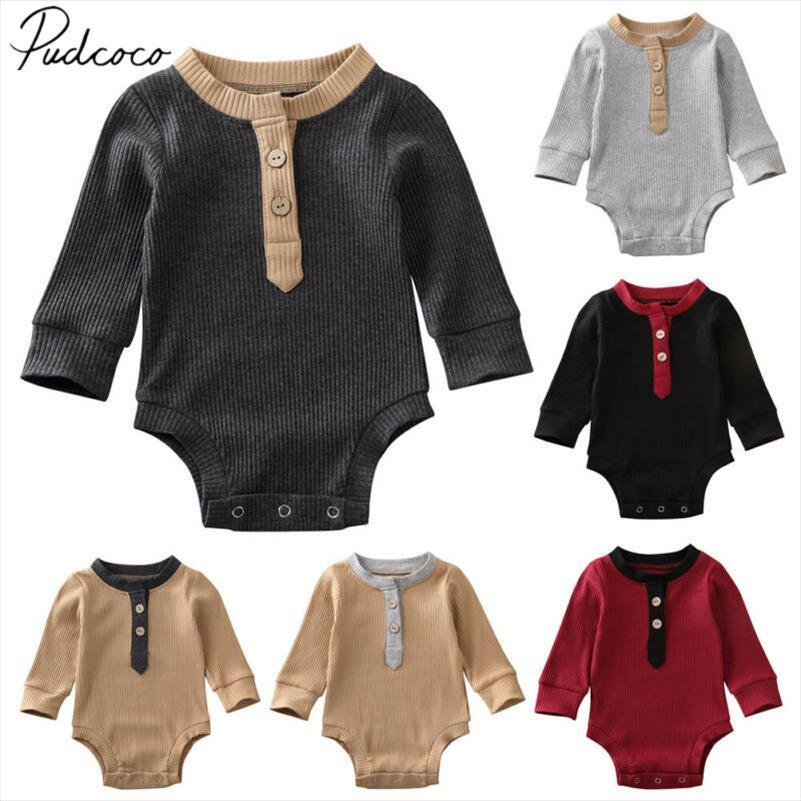 2020 Baby Spring Autumn Clothing Newborn Infant Baby Boy Girl Jumpsuit Long Sleeve Playsuit Ribbed Solid Bodysuit Outfits