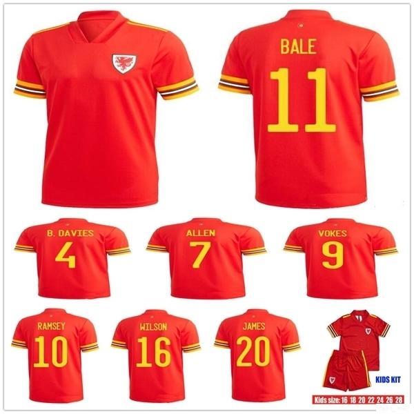Человек + Дети 19 20 Уэльс футбол Джерси 11 Гарет Бэйл 10 RAMSEY VOKES ALLEN JAMES WILSON B.DAVIES Customize 2020 Главная Red Молодежный футбол рубашка
