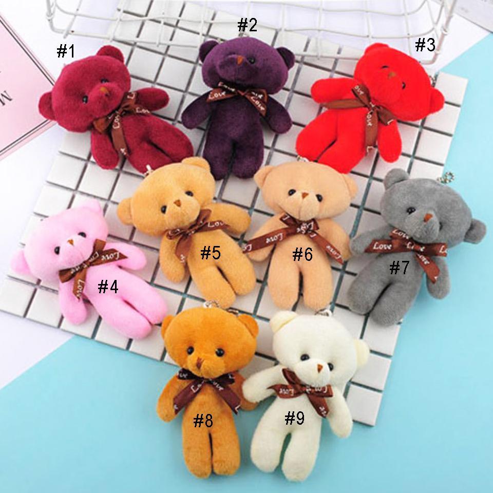 12cm Teddy Bear Plush Toys Key Chain Pendant Plush Doll Stuffed Animals Teddy Bear Keychain Soft Plush Toy Kids Child Gifts Wholesale