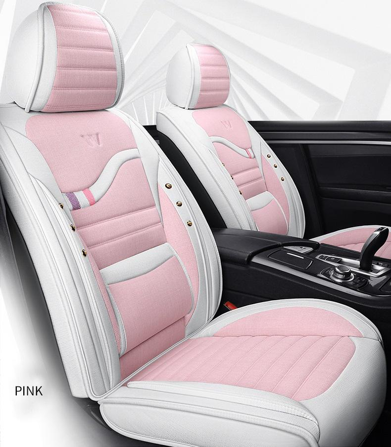 Universal Car Accessories Seat Covers For Sedan Fashion Design Full Set Leather Adjuatable Five Seats Cover Cushion Mat Pink For Women