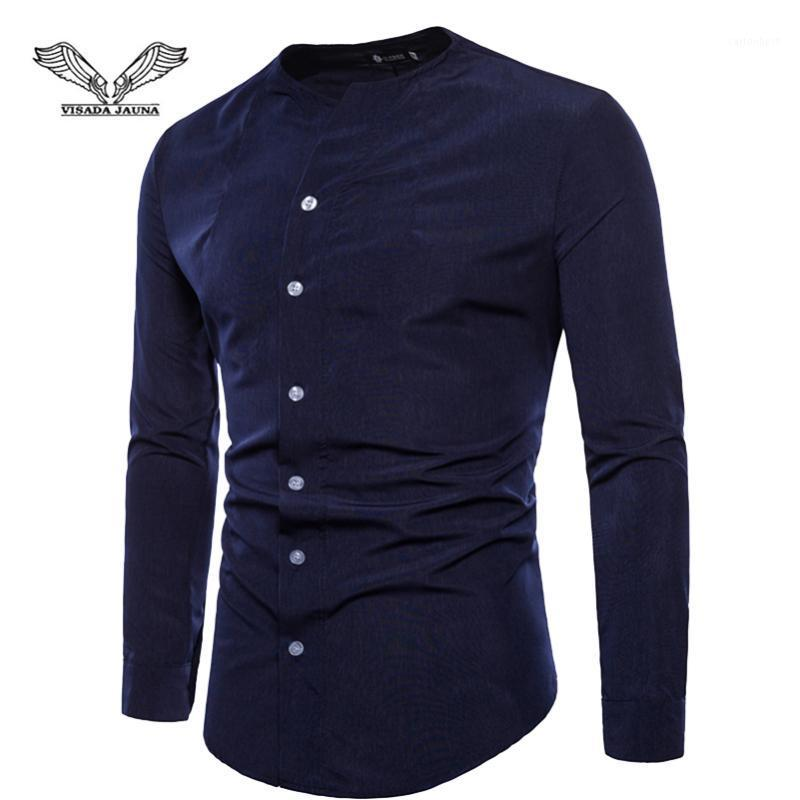 VISADA JAUNA European And American Men's Slim Long-Sleeved Shirt Solid Color Slim Large Size Bottoming Shirt Size M-2XL TLH801