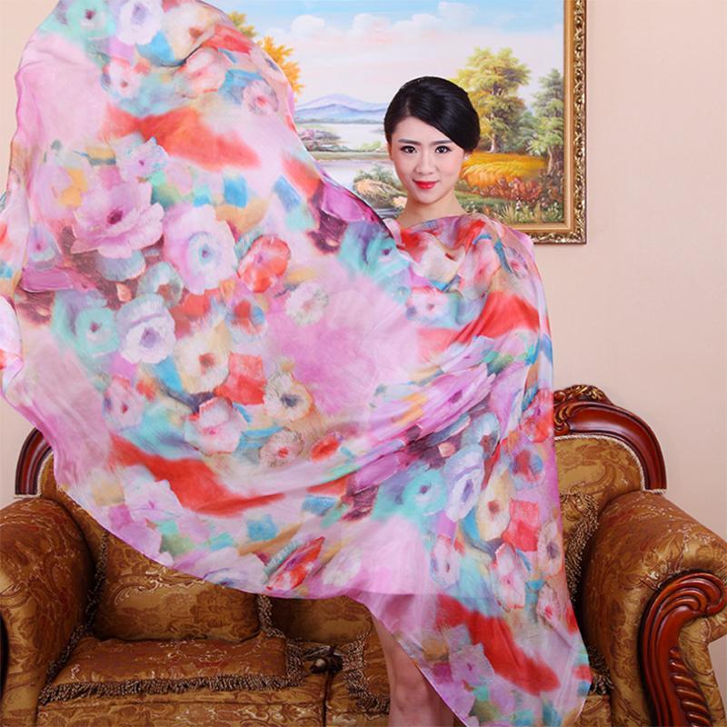 100% Silk Scarf Mulheres Moda Luxo Genuine real Silk Scarf Longo Floral do aniversário do aniversário do xaile das senhoras do amante da mãe presente
