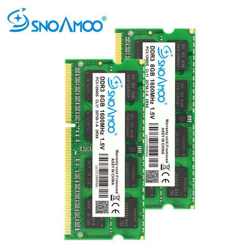 SNOAMOO DDR3 8GB 1333/1600 MHz Mémoire RAM Mémoire Notebook PC3-10600S 204 Pin 1.5V 2Rx8 SO-DIMM Garantie mémoire pour ordinateurs