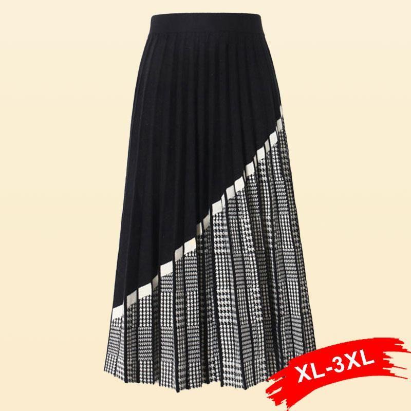 Tamaño más Streetwear geométrico largo de punto de las mujeres falda plisada 3XL otoño caliente grueso elegante una línea de punto suéter de la falda de Femme