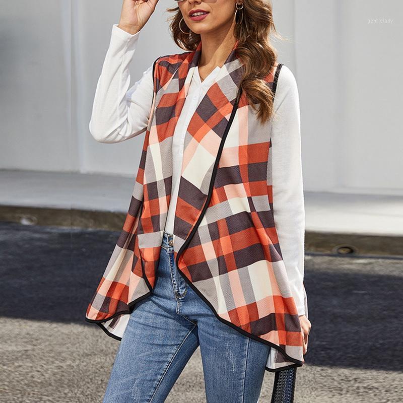 Женская клетчатка Calofe Womens Cashmere куртка повседневная откалы без рукавов Открытые передние кардиганские жилеты повседневные пальто плюс размер женские жилеты1